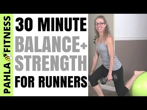 * BALANCE and STRENGTH for RUNNERS   Full Length Workout with DUMBBELLS and STABILITY BALL