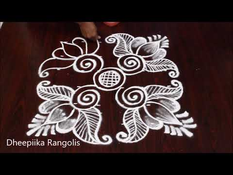Beautifull friday lotus muggulu with 6 dots * easy lotus pulli kolam * Apartment rangoli designs