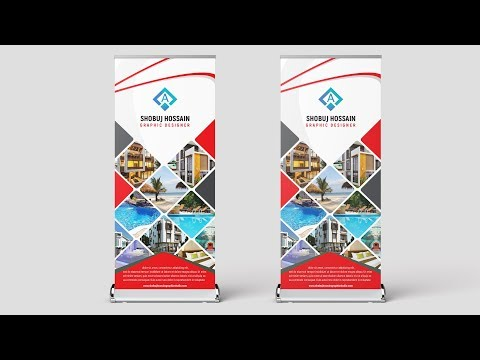 How To Create A Professional Roll Up Banner Design In Photoshop Tutorial 2018