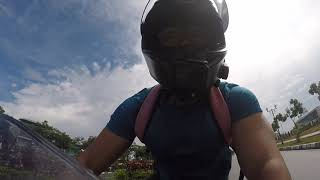 Biker Panicked Making a Turn Then Crashed and Fell Down