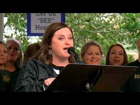 Deyshia Hargrave speaks at teacher rally following her arrest at a school board meeting