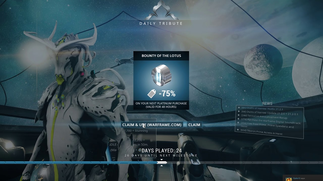 Warframe - Got the 75% off just when i needed it bought 25$ platinum pack
