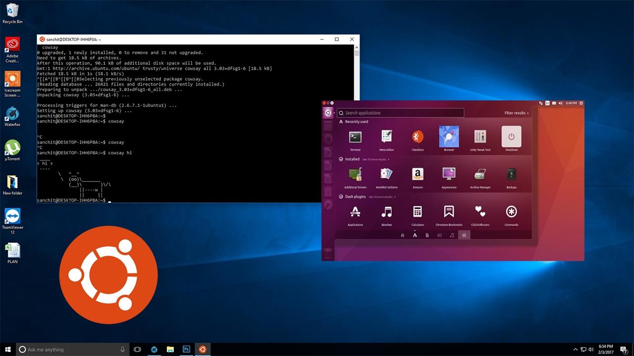 Download ubuntu on windows 10 from windows store.