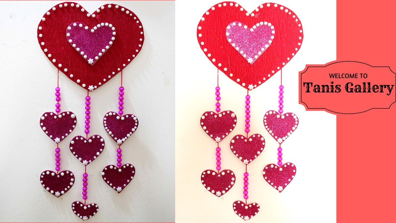 Hanging hearts decorations large heart wall hanging for Heart decoration ideas