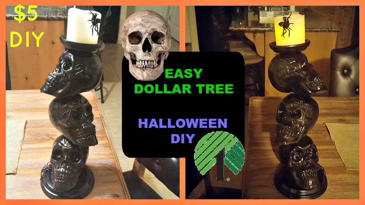 1a1cd603614c DOLLAR TREE DIY HALLOWEEN SKULL PILLAR CANDLE STICK HOLDER - YouTube