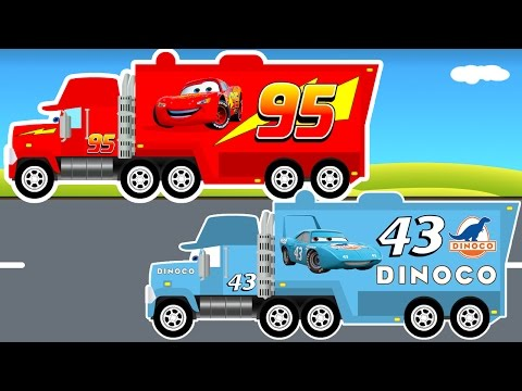 Thumbnail: Disney LIGHTNING MCQUEEN Truck and Pixar Dinoco Big Truck - Monster Truck for Kids