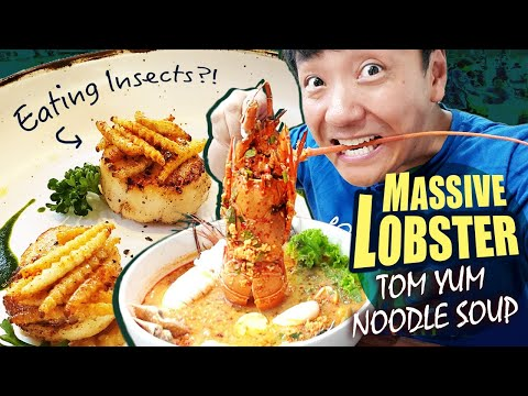 giant-lobster-tom-yum-noodle-soup,-eating-insects-&-huamum-night-market-in-bangkok-thailand