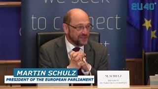 European Parliament President Martin Schulz endorsing EU40 at the Young MPs Forum 2016
