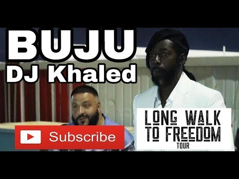 Buju Banton and DJ Khaled enter the National Stadium for the Long Walk to Freedom Concert