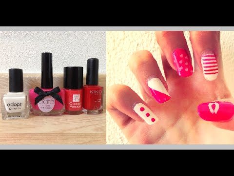 tuto nail art ongles saint valentin d butant facile c line youtube. Black Bedroom Furniture Sets. Home Design Ideas