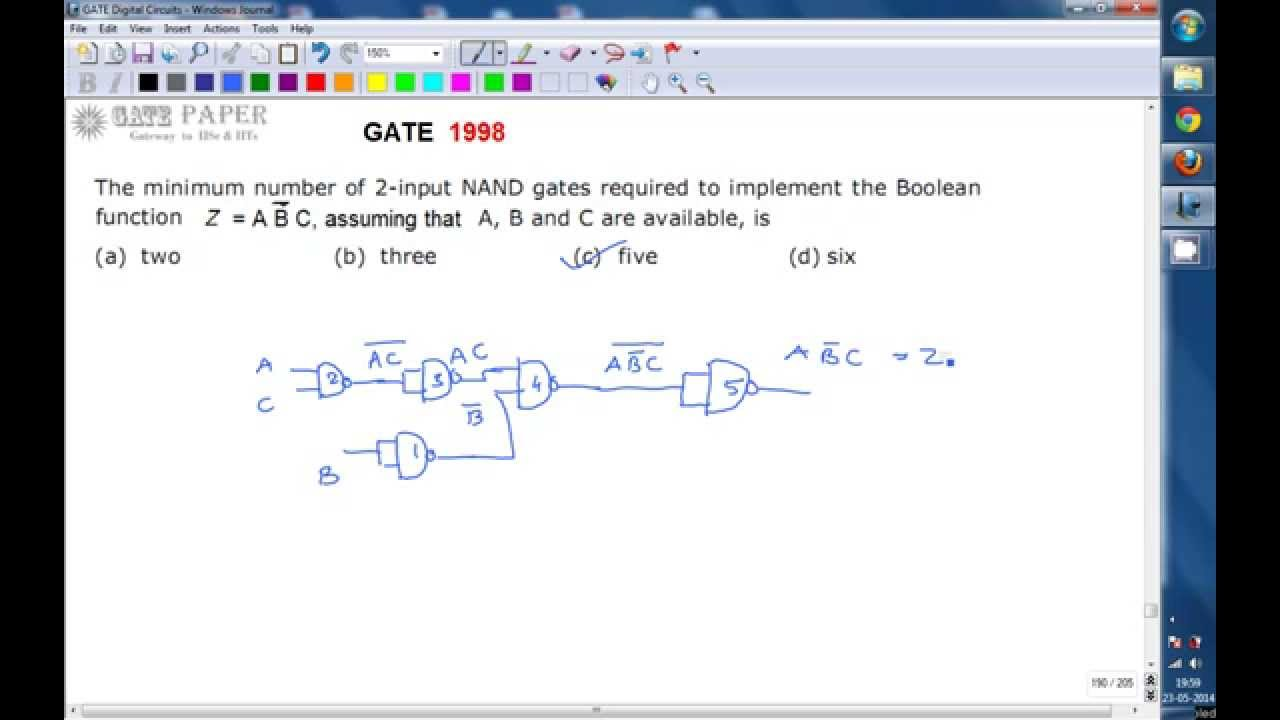 Gate 1998 Ece Minimum Number Of 2 Input Nand Gates Required To And Logic In An Output C Is Produced Only If The Two Implement Boolean Function Z A