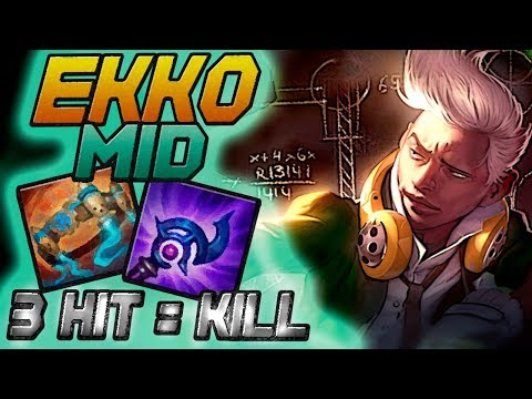 20/2 - A BUILD DOS 3 HIT - EKKO MID GAMEPLAY - LEAGUE OF LEGENDS