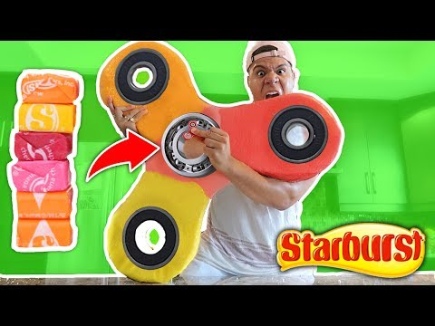 DIY GIANT STARBURST FIDGET SPINNER!! How to Make EDIBLE CANDY RARE Fidget Spinner (Toys & Tricks)