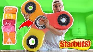 DIY GIANT STARBURST FIDGET SPINNER!! How to Make EDIBLE CANDY RARE Fidget Spinner (Toys & Tricks)