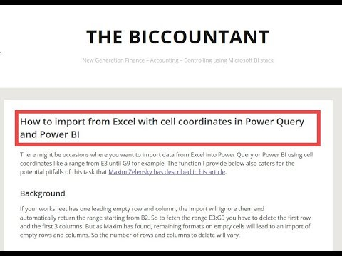 How to import from Excel with cell coordinates in Power