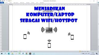 Cara Menjadikan Komputer Atau Laptop Sebagai Wifi Youtube