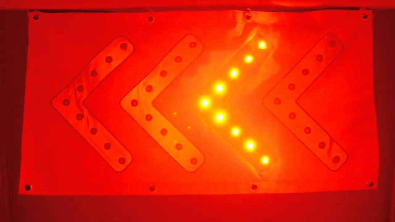 TRAFFIC DIRECTION ARROW CHEVRON FLASHING 36 RED LEDs