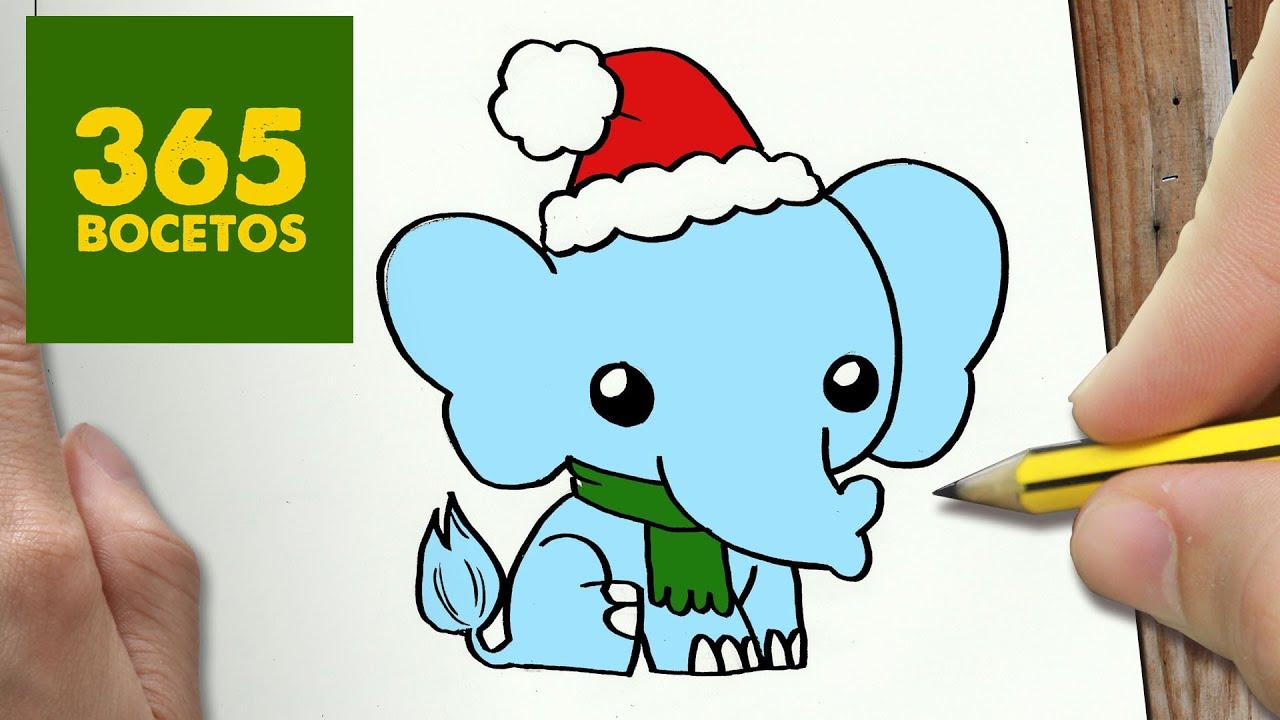 paso dibujos kawaii navide os   how to draw a elephant   youtube