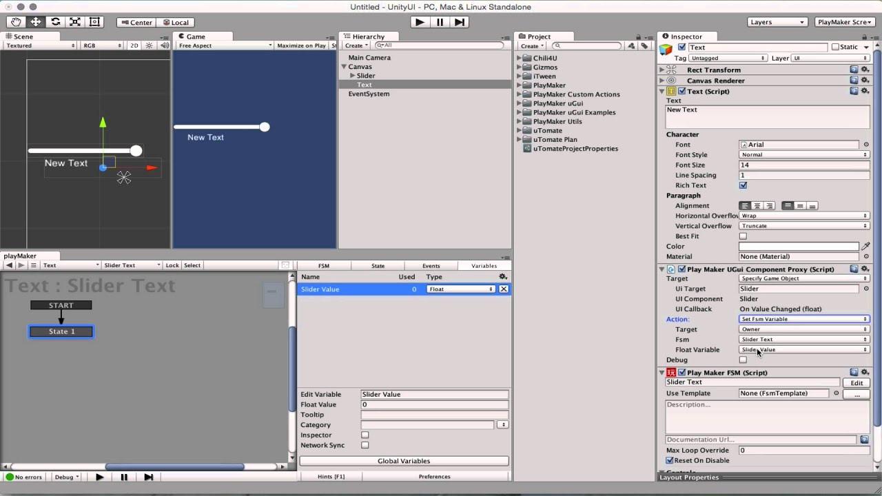 PlayMaker Unity UI Proxy Advanced Set Fsm Variable