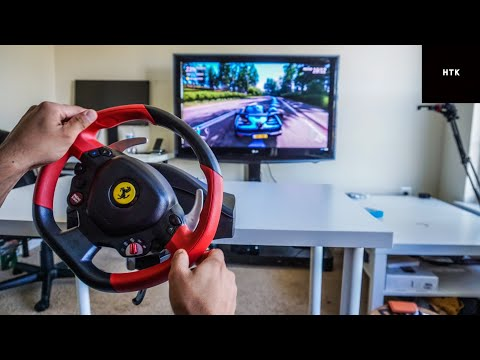 how-to-setup-thrustmaster-ferrari-458-spider-racing-wheel-for-xbox-one-x-s-+-gameplay