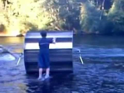 Hydrokinetic, Alternative Energy,  Floating Water Sprocket, Prototype #3 2003, First Field Test