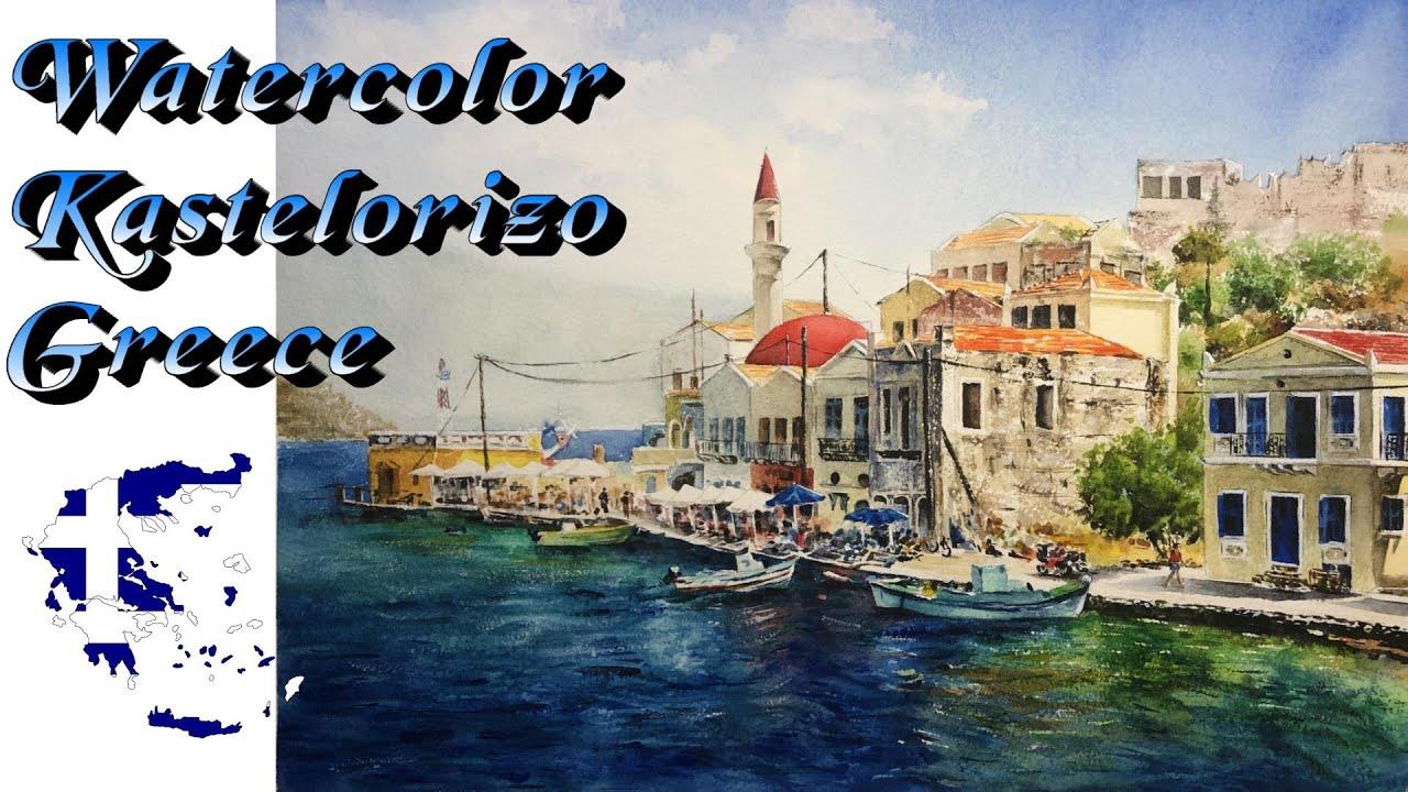 Watercolor - 🇬🇷kastellorizo in Greece / landscape painting