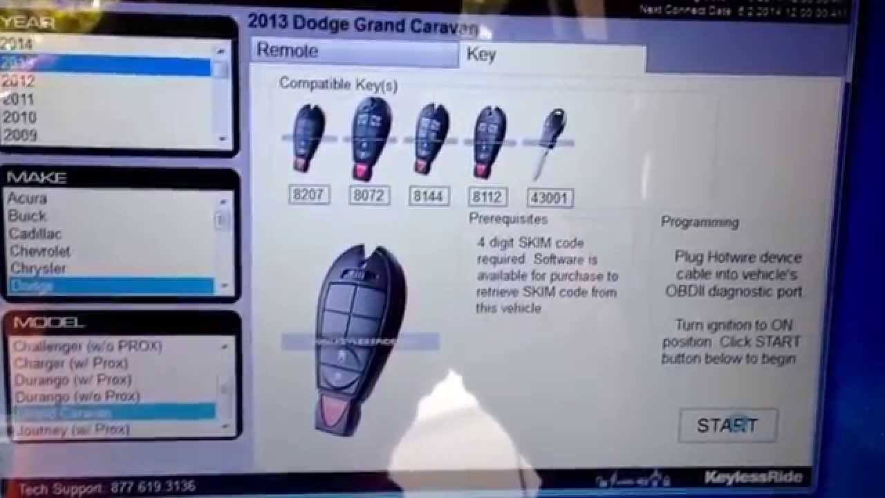 Dodge caravan 2013 key programming