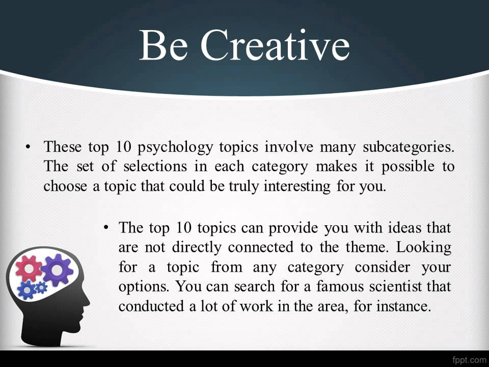 research paper topics in psychology Guide to writing a research report for psychology included in this guide are suggestions for formatting and writing each component of a research report as.