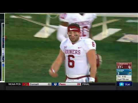 Oklahoma QB Baker Mayfield gives Kansas an inappropriate gesture after TD
