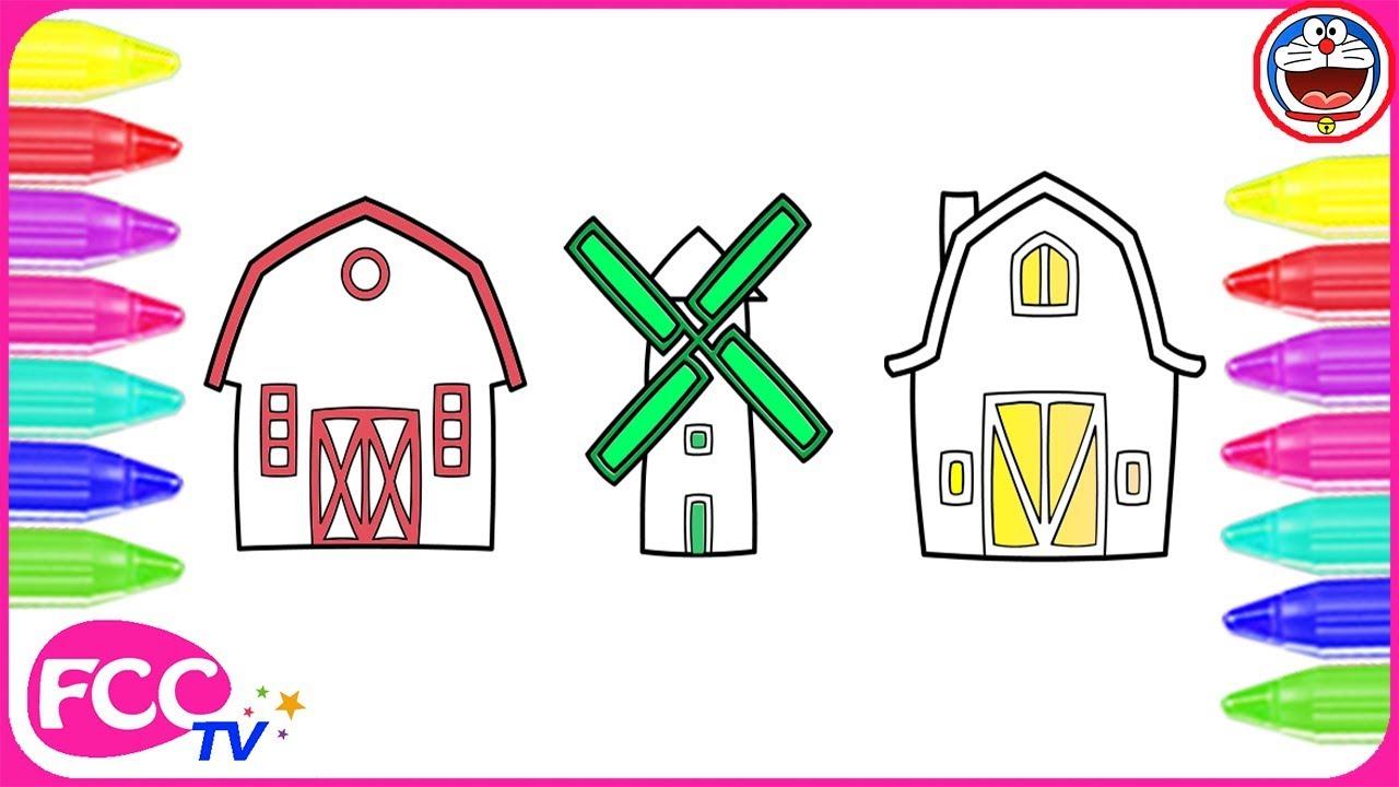 làm thế nào để vẽ và trang trí ngôi nhà, cối xay gió