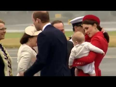 William, Kate and Prince George arrive in New Zealand