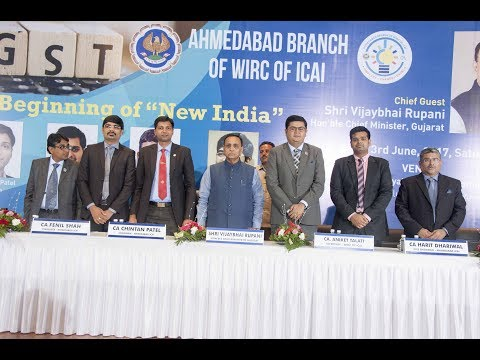 Ahmedabad Branch of WIRC of ICAI with Chief Minister of Gujarat Shri Vijay Rupani on 3rd June 2017.