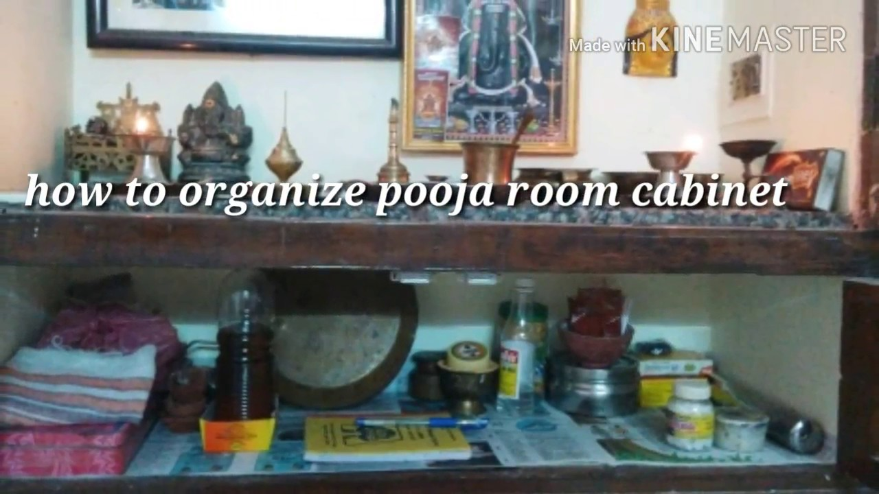 How to organize small pooja room cabinet in simple - YouTube
