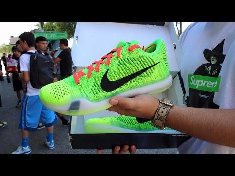 91071e2f8ae Nike ID Kobe X Grinch Review + On Foot ! - YouTube