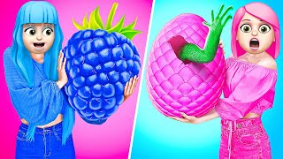 EATING ONLY ONE COLOR FOOD FOR 24 HOURS! Last To STOP Eating PINK VS BLUE Food by 123 GO! FOOD