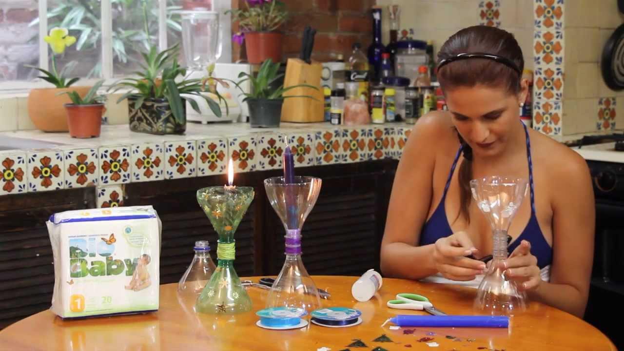 Candelabro navide o con botellas pet youtube - Como hacer candelabros ...