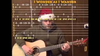 I Wonder As I Wander (Christmas) Solo Guitar Cover Lesson with TAB Arrangement