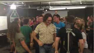 Brad Feld Crowdsurfing at TechStars Boulder pre-demo day 2012