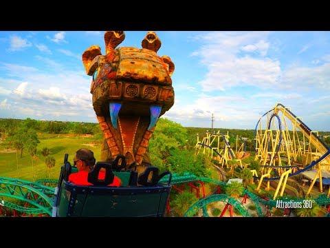 [4K] Cobra's Curse Roller Coaster - Busch Gardens Tampa, Florida 2017