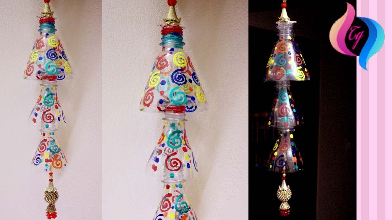 Bottle wind chime how to make a wind chime with waste for Waste material craft work with bottles