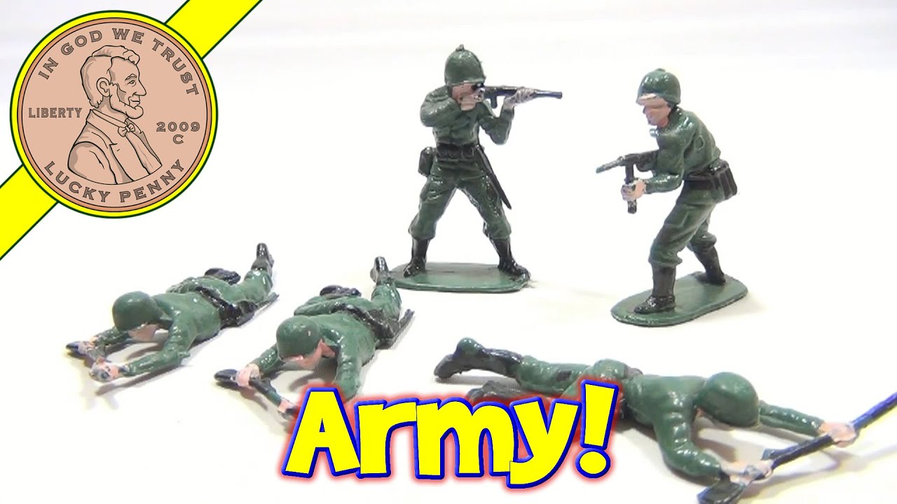 Vintage Plastic Army Men With Painted Faces made in Hong Kong