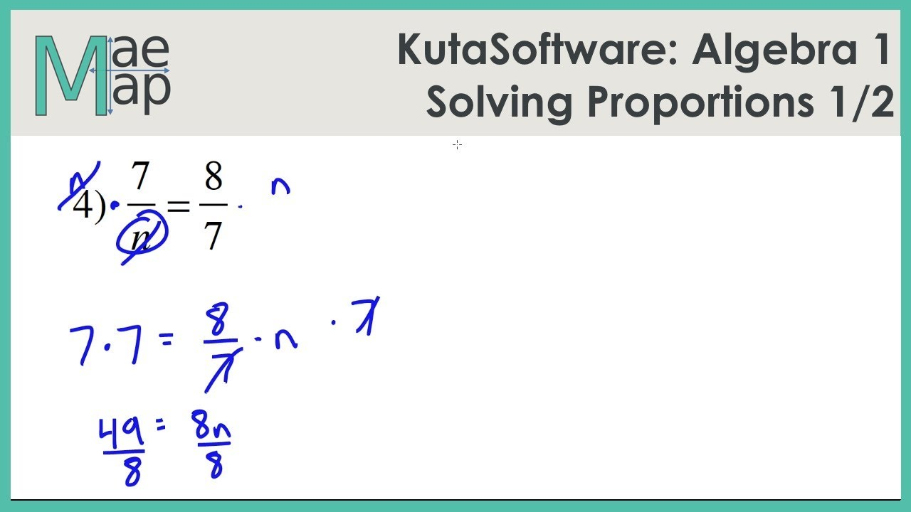 KutaSoftware Algebra 1 Solving Proportions Part 1 YouTube – Solving Proportions with Variables Worksheet