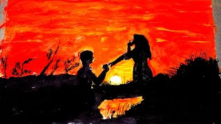 How to Draw scenery of sunset with romantic love step by step | Time laps drawing
