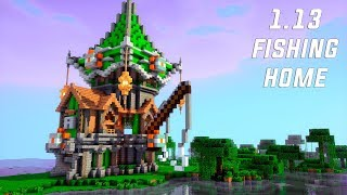 1.13 MINECRAFT - How to Build a FISHING TOWER/ HOUSE! (SURVIVAL HOUSE TUTORIAL)