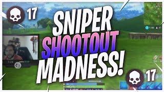 HITTING RIDICULOUS SHOTS... 17 KILL SNIPER SHOOTOUT! (Fortnite BR Full Match)