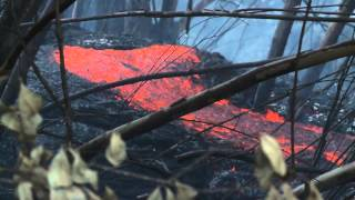 Incredible! Hawaii Kilauea Volcano: Puna Lava Flow [lava flows into shed]