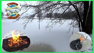 Первый лёд рыбалка на лесном озере ловля на жерлицы