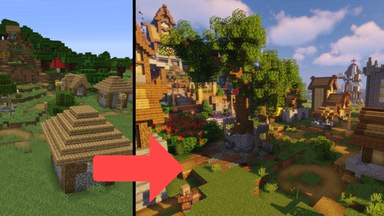 Transforming a 1 14 Plains Village | Minecraft Farm Build Timelapse