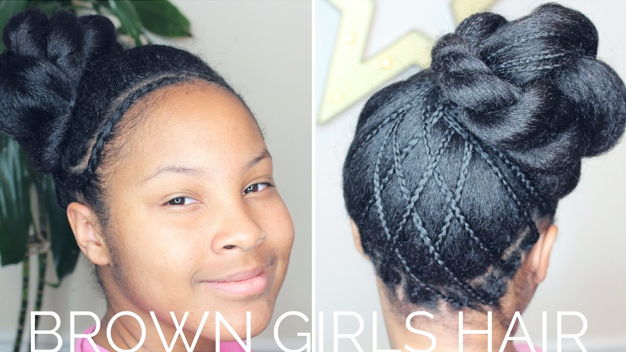 Woven Updo Hairstyle Natural Hair Girls Youtube