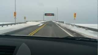 Driving Over The Confederation Bridge Feb 10th 2013 75km Winds Prince Edward Island Part 1